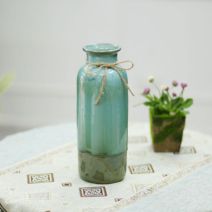 Bình gốm hình trụ cổ thắt nơ xanh lục (30cm) - BG455