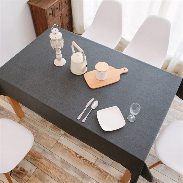 TB372 - Khăn trải bàn vải xám trơn chống thấm