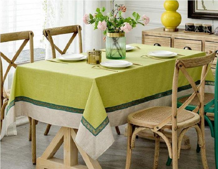 Khăn trải bàn xanh cốm mix 140*200 cm - TB387