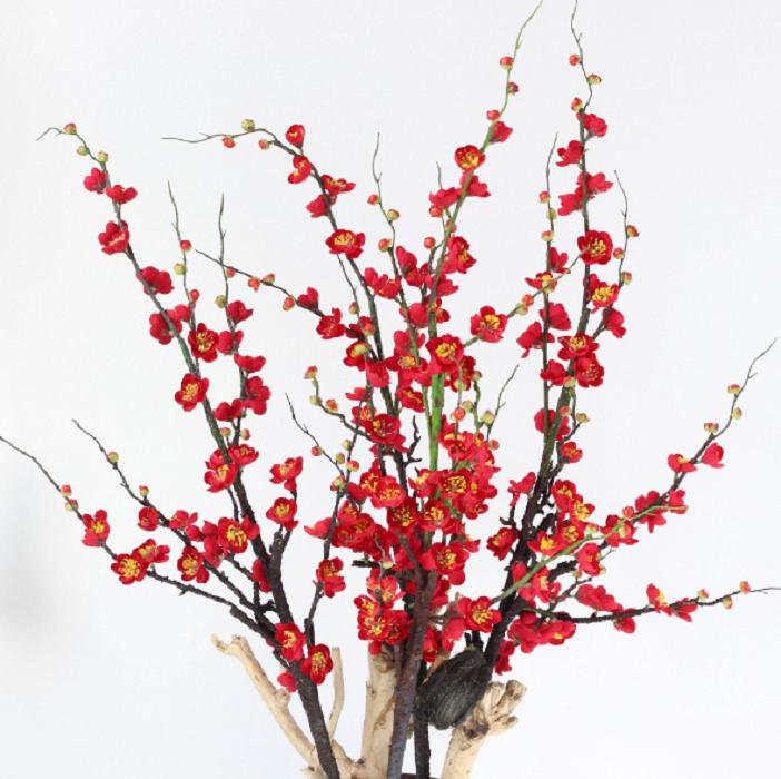 Cành hoa đào đỏ (120cm) - HC808