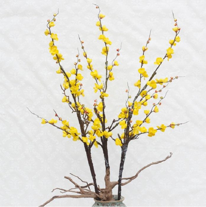 Cành hoa đào vàng (120cm) - HC808-1