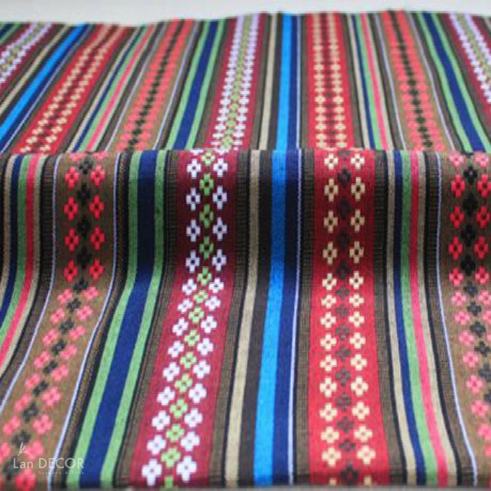 Vải gấm họa tiết kẻ sọc xanh đỏ đẹp - TB432