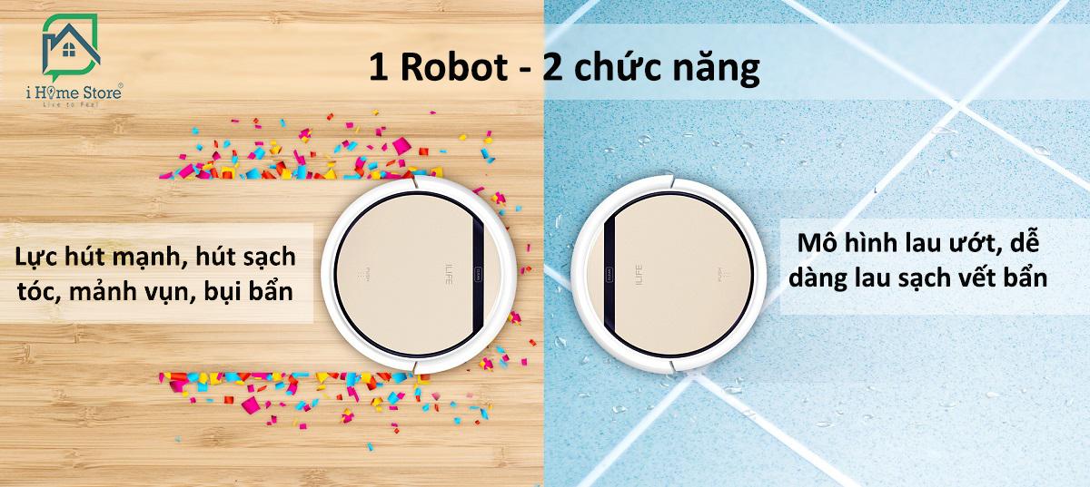 Robot hút bụi lau nhà iLife V5s Pro tích hợp tính nănghút chân không 2 trong 1