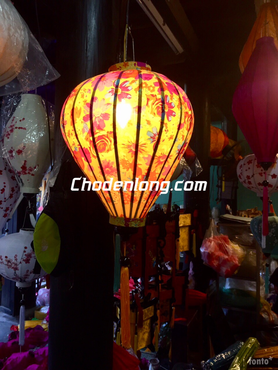 Đèn lồng Hội An vải hoa VH019
