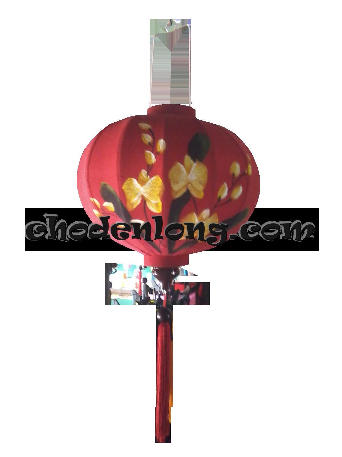Đèn lồng Hội An vẽ hoa lan vàng