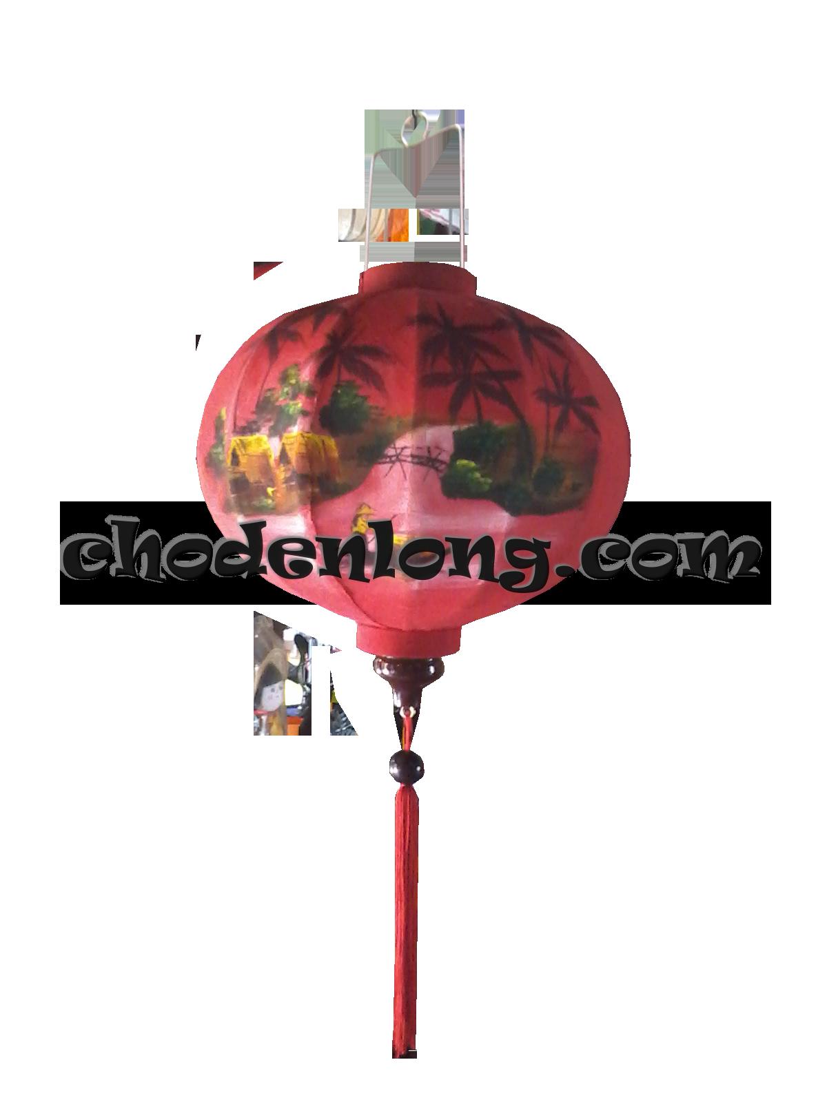 Đèn lồng Hội An vẽ tranh cô gái chèo thuyền