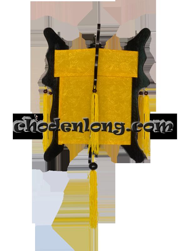 Đèn lồng gỗ lục giác vải gấm vàng Long Phụng - Đèn kéo quân