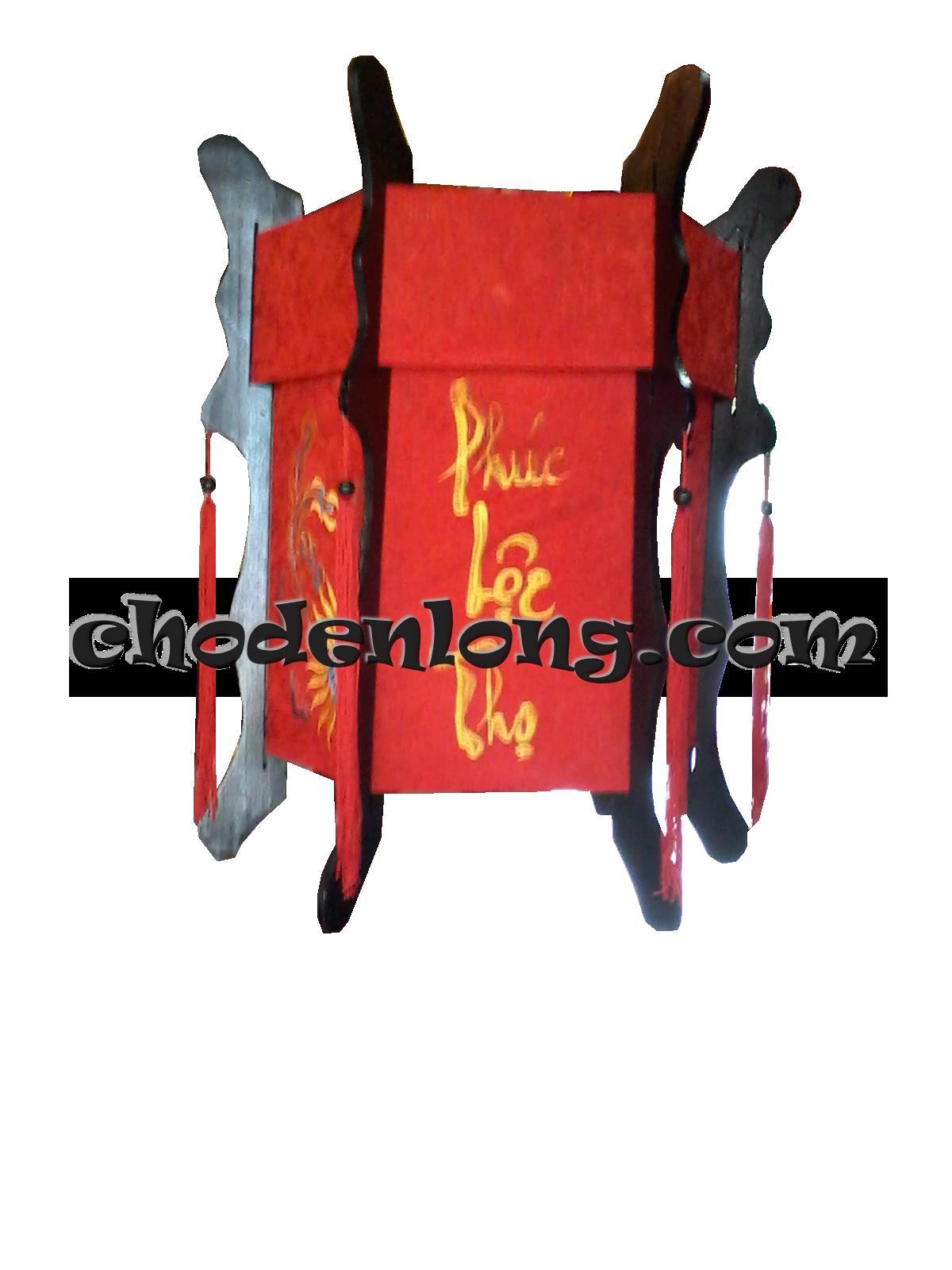 Đèn lồng gỗ vải gấm Long Phụng thêu Phúc Lộc Thọ - Đèn kéo quân