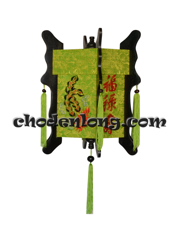 Đèn lồng gỗ vải gấm xanh Long Phụng thêu Phúc Lộc Thọ - Đèn kéo quân