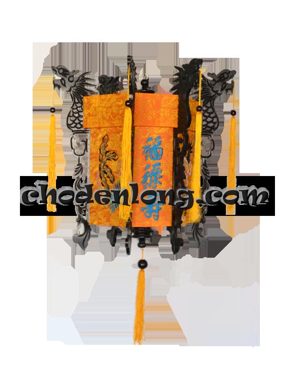 Đèn lồng gỗ khắc rồng thêu dệt gấm Long Phụng - Đèn kéo quân