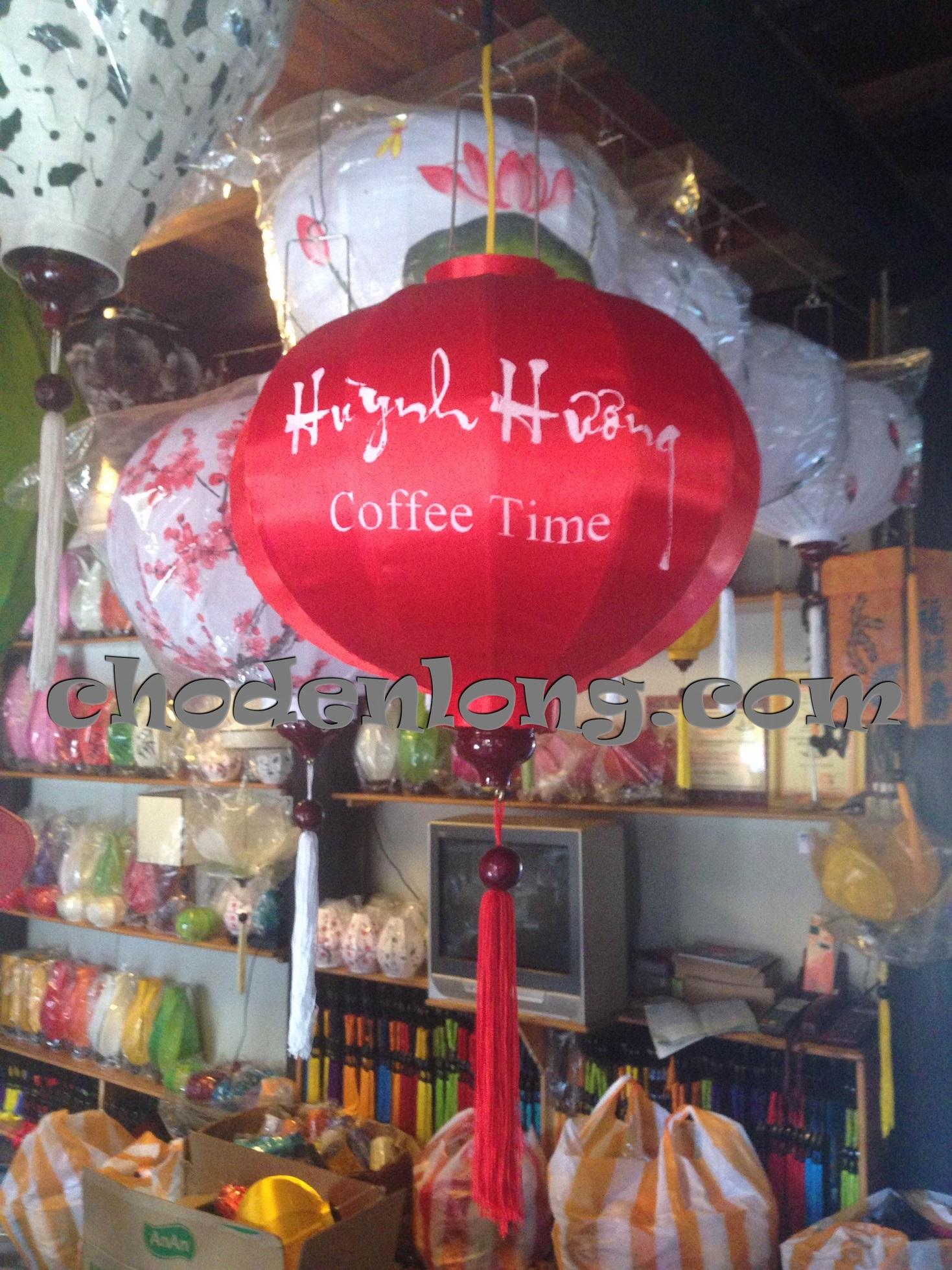 Đèn lồng Hội An kiểu tròn in logo quán cafe
