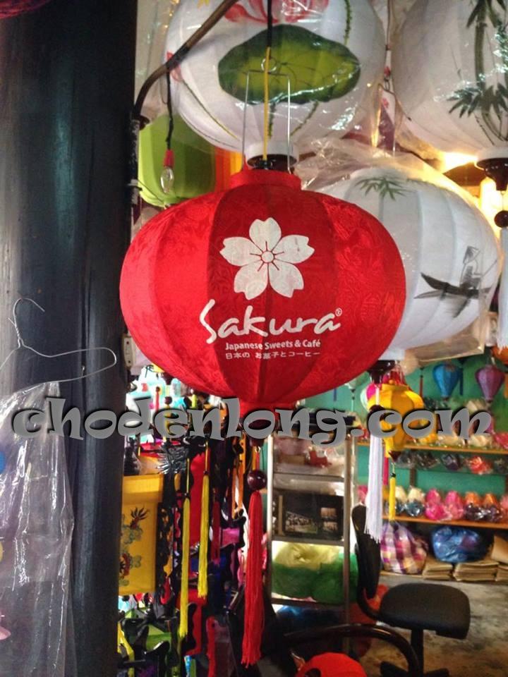 Đèn lồng Hội An kiểu tròn in logo quán Sakura