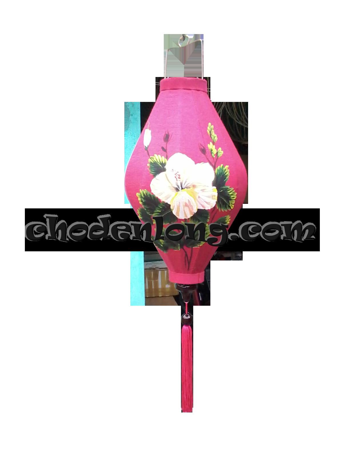 Đèn lồng Hội An vẽ hoa dâm bụt