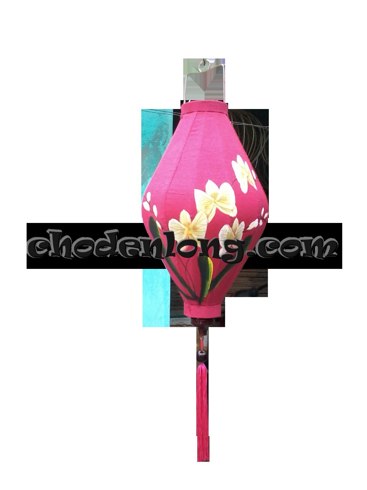 Đèn lồng Hội An hình thoi vẽ hoa lan
