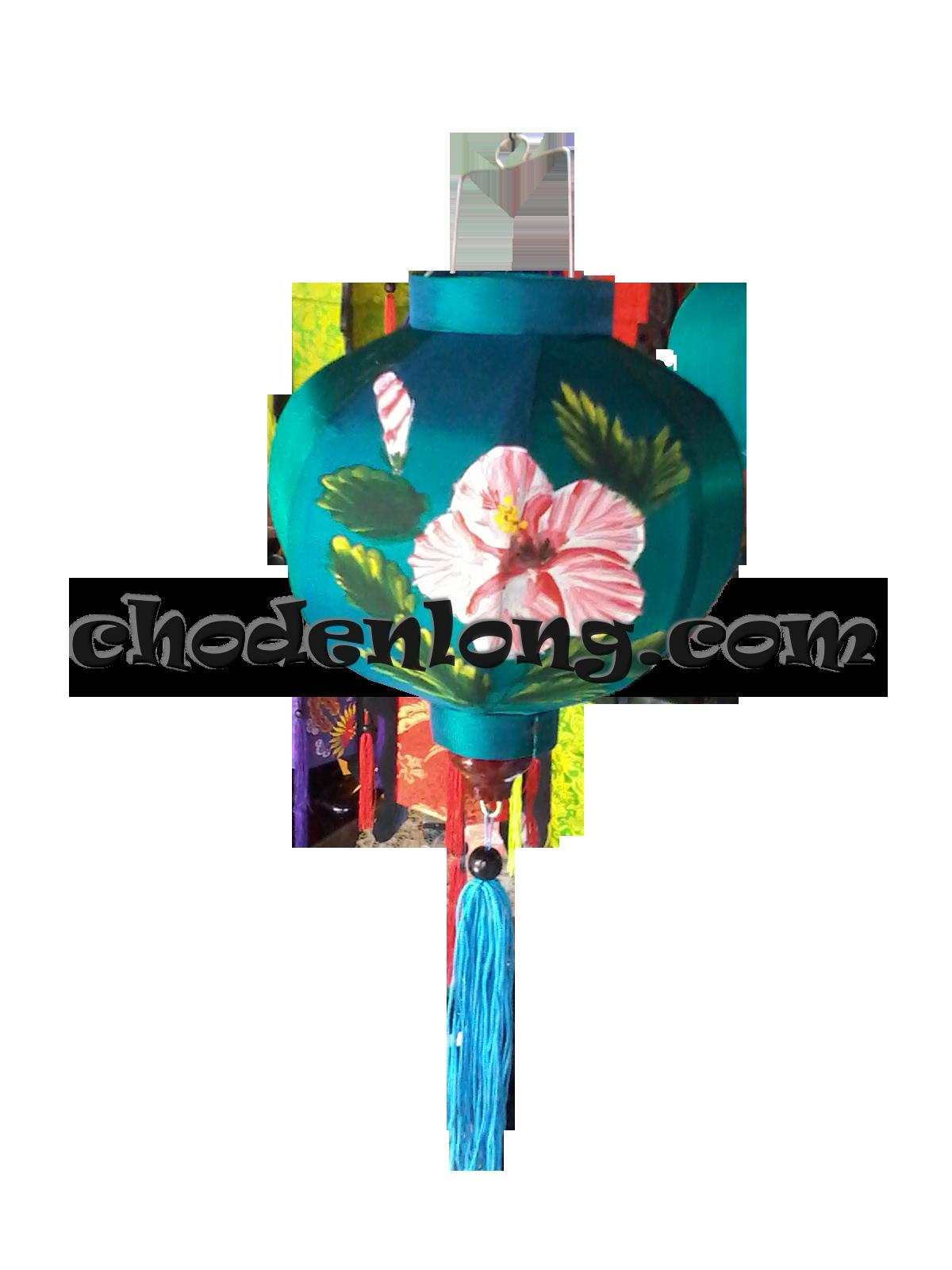 Đèn lồng Hội An loại nhỏ vẽ hoa dâm bụt