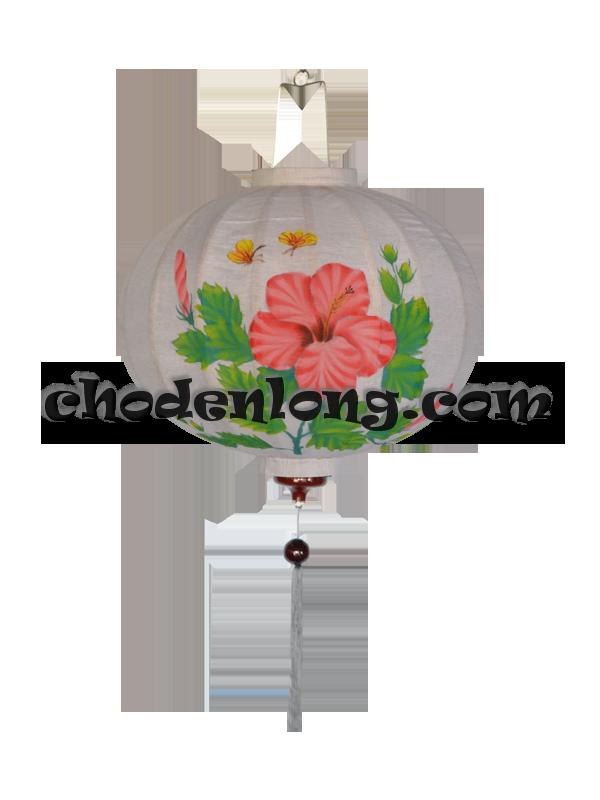 Đèn lồng Hội An tròn vẽ hoa dâm bụt
