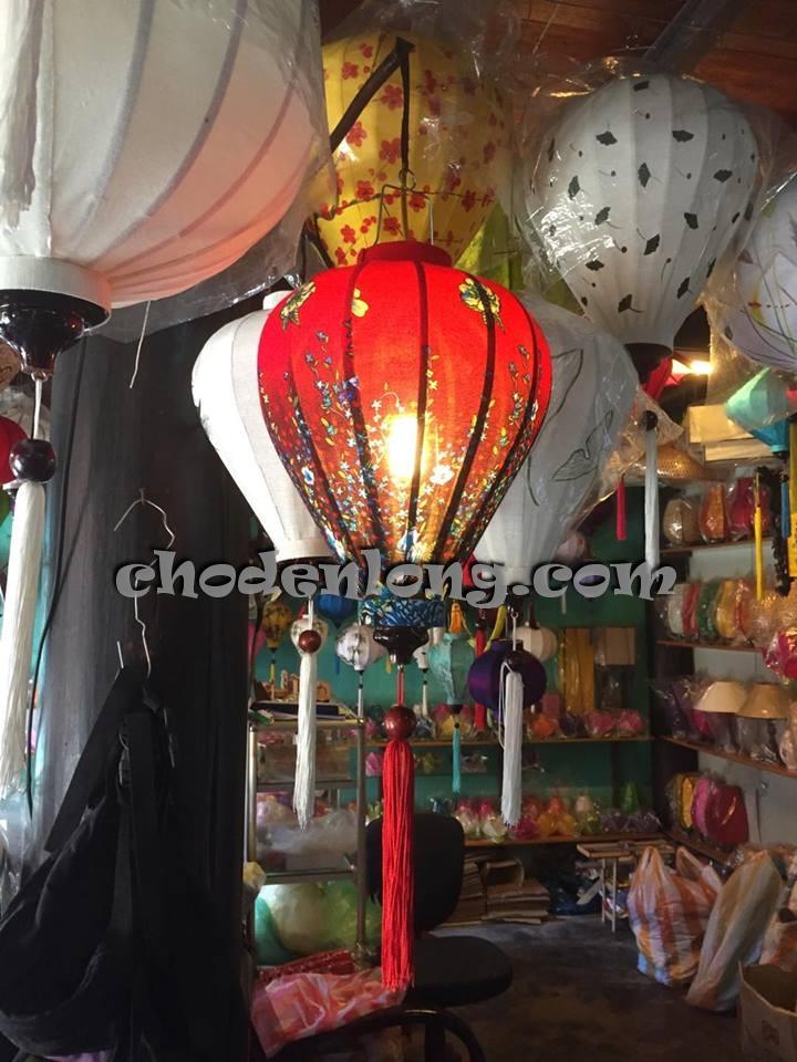 Đèn lồng Hội An vải hoa kiểu tỏi VH012