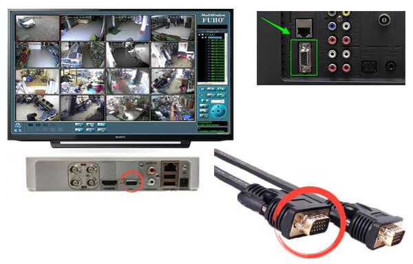 kết nối camera với màn hình máy tính bằng dây VGA