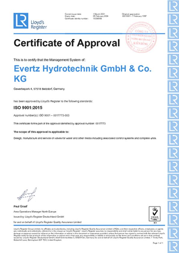 Evertz Hydrotechnik Certificate