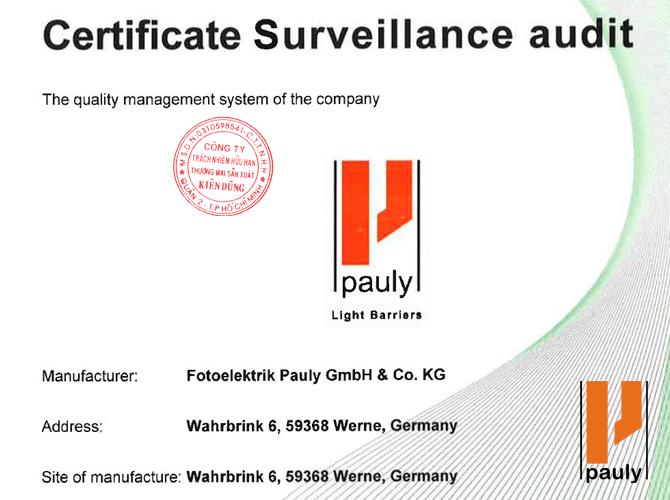 Fotoelektrik Pauly Certificate
