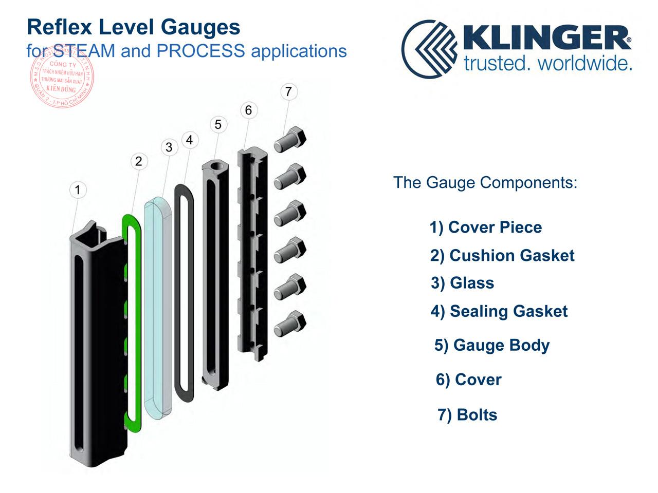 Cấu tạo thước đo mức phản xạ Klinger Reflex Level Gauges