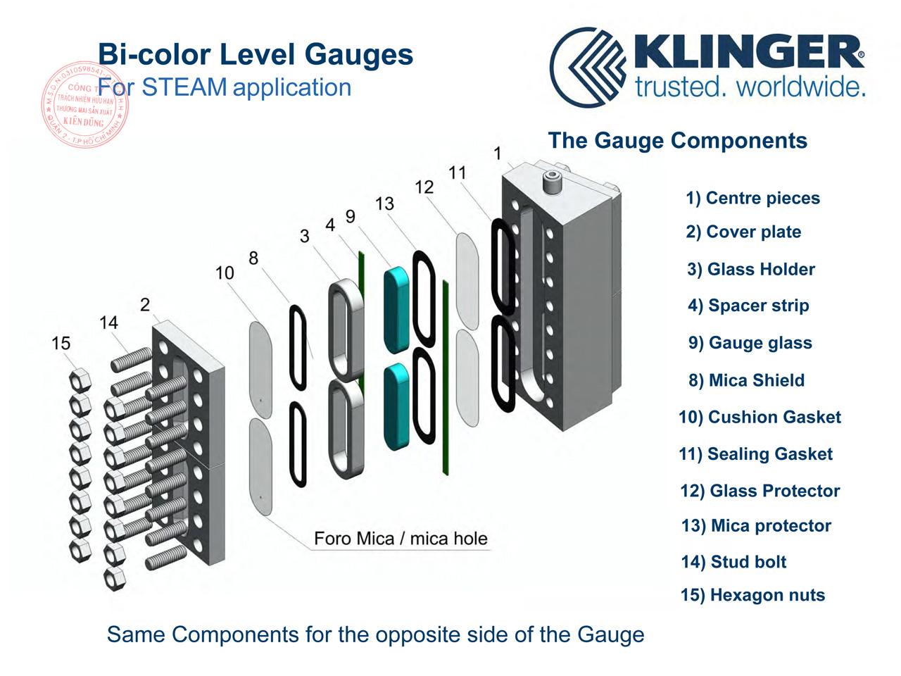 Cấu tạo thước đo mức kép Klinger Bi-color Level Gauges