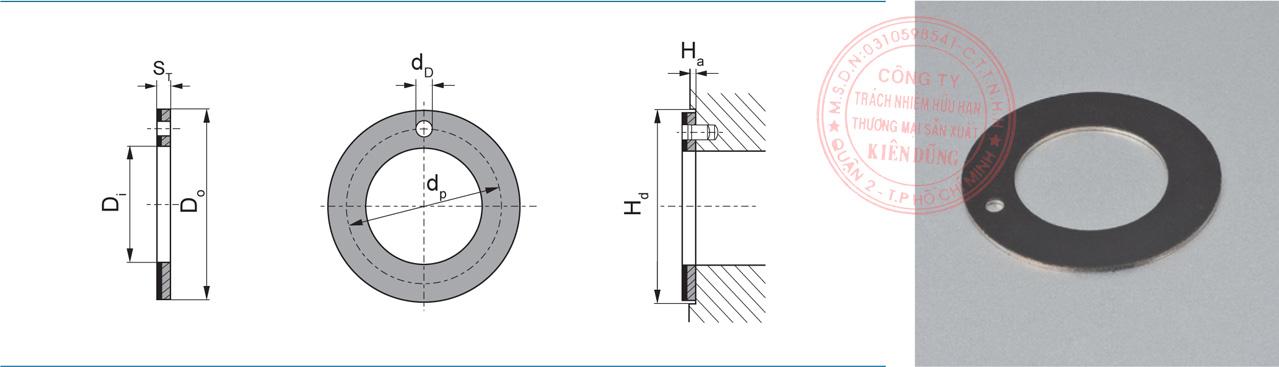 Bảng kích thước tiêu chuẩn WC Self-Lubricating Compound Thrust Washer