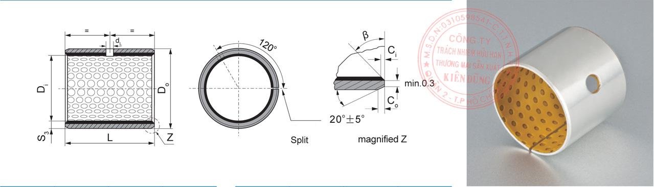 Bảng kích thước tiêu chuẩn SF-2Y Marginal Pb-free Self-Lubricating Sleeve Bushing