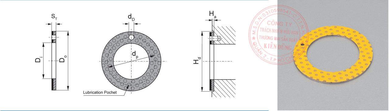 Bảng kích thước tiêu chuẩn 2WC Marginal Pb-free Self-Lubricating Compound Thrust Washer
