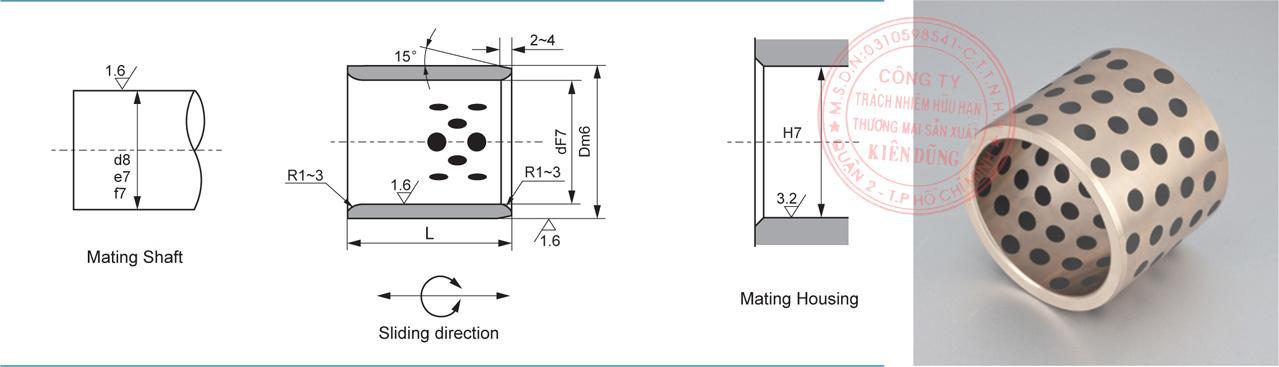 Bảng kích thước tiêu chuẩn CNP-JDB Solid-Self-Lubricating Straight Bearings