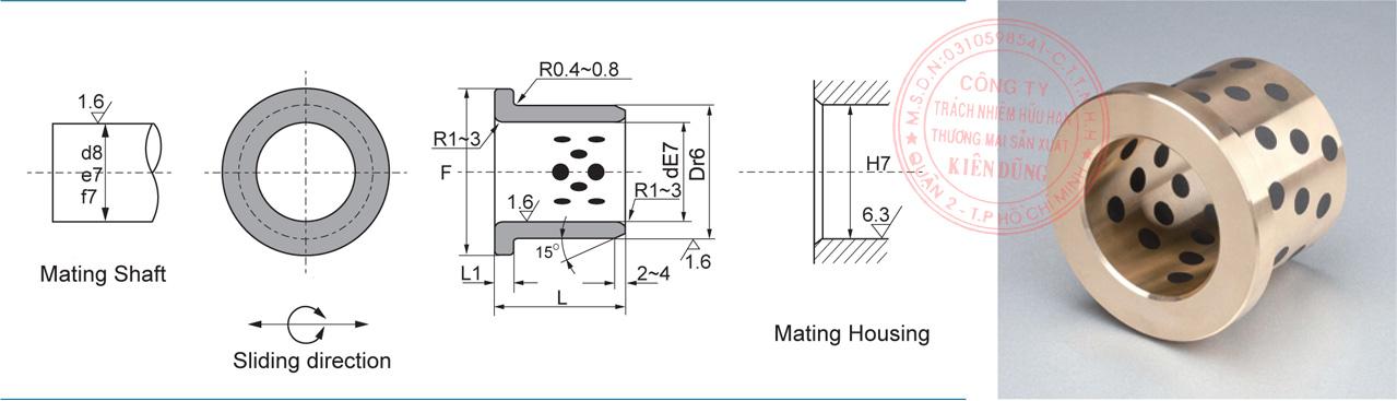 Bảng kích thước tiêu chuẩn CNP-JFB Solid-Self-Lubricating Flange Bearings