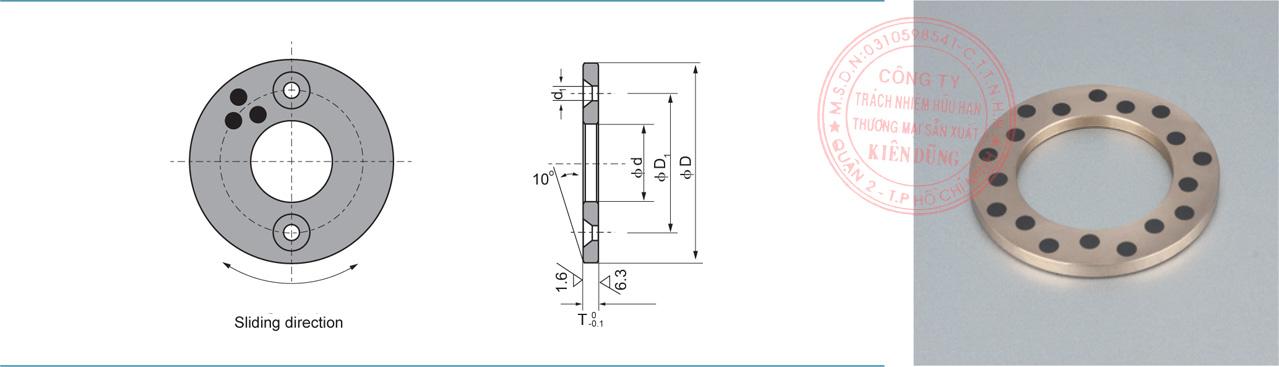 Bảng kích thước tiêu chuẩn CNP-JTW Solid-Self-Lubricating Thrust Bearings