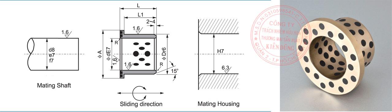 Bảng kích thước tiêu chuẩn CNP-JDBB Solid-Self-Lubricating Flange Bushings