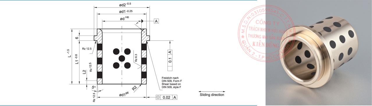 Bảng kích thước tiêu chuẩn CNP9834 Solid-Self-Lubricating Guide Post Bushings