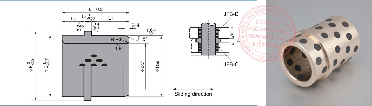 Bảng kích thước tiêu chuẩn CNP-JOSG Solid-Self-Lubricating Guide Ejector Bushings