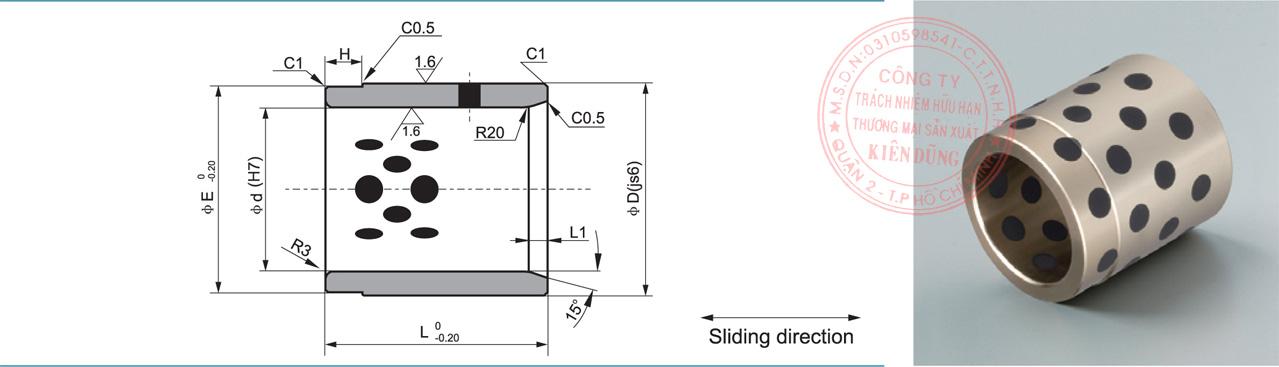 Bảng kích thước tiêu chuẩn CNP-JPBW Solid-Self-Lubricating Guide Post Bushings