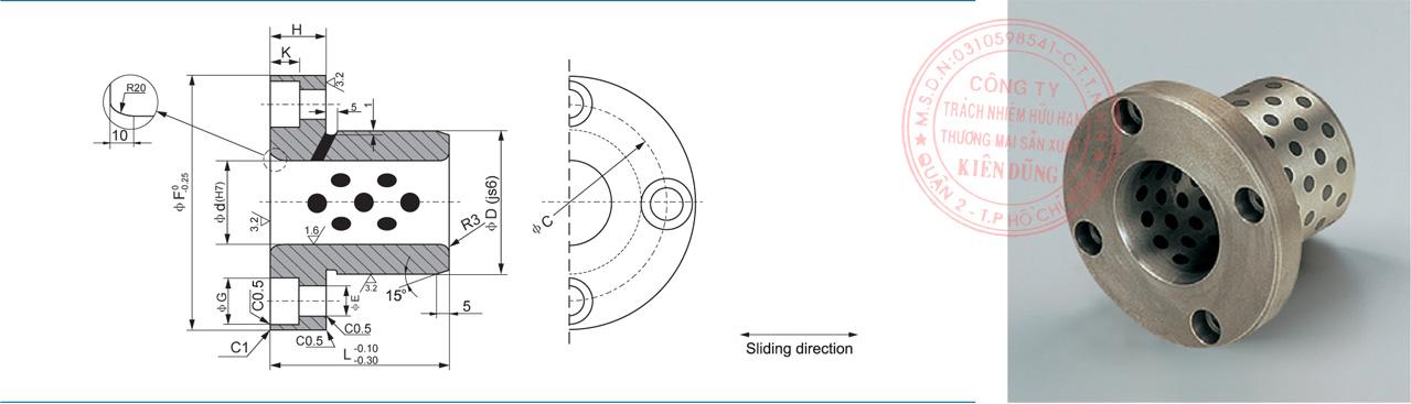 Bảng kích thước tiêu chuẩn CNP-HGB Solid-Self-Lubricating Guide Bushes