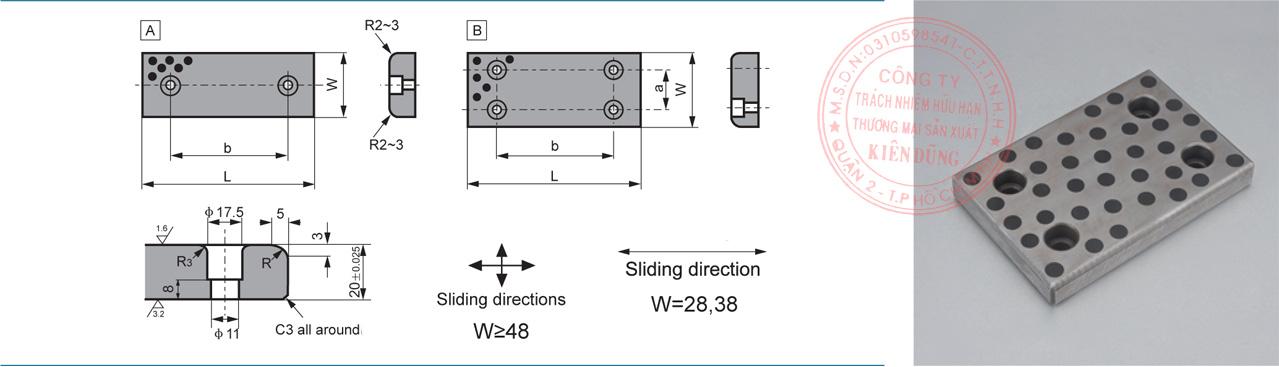 Bảng kích thước tiêu chuẩn CNP-JESW Solid-Self-Lubricating Wear Plates