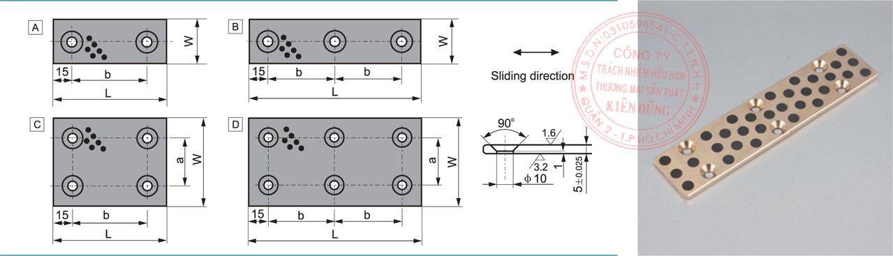 Bảng kích thước tiêu chuẩn CNP-JUWP Solid-Self-Lubricating Wear Plates