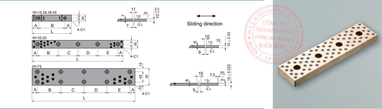 Bảng kích thước tiêu chuẩn CNP-JSP Solid-Self-Lubricating Wear Plates