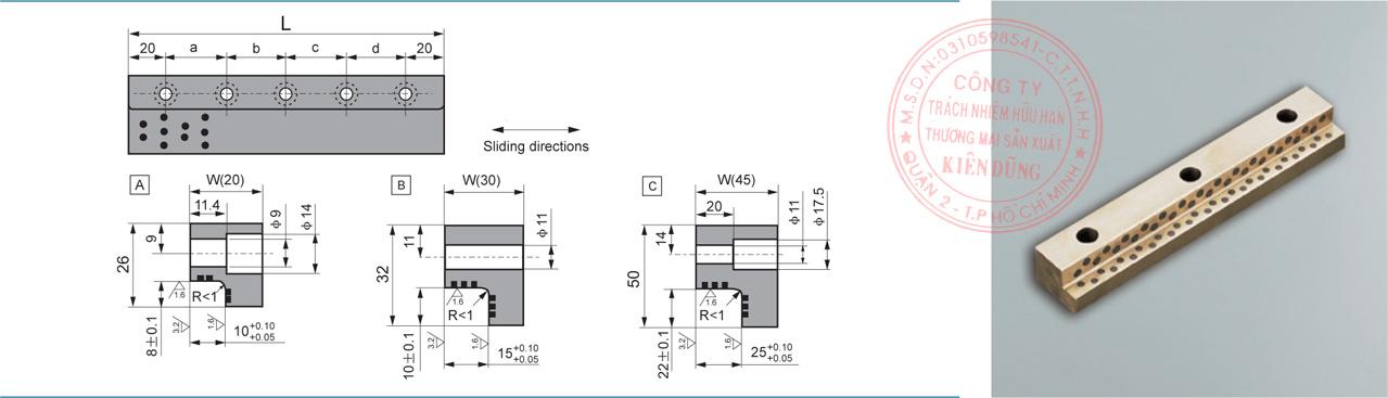 Bảng kích thước tiêu chuẩn CNP-JSL Solid-Self-Lubricating Wear Plates
