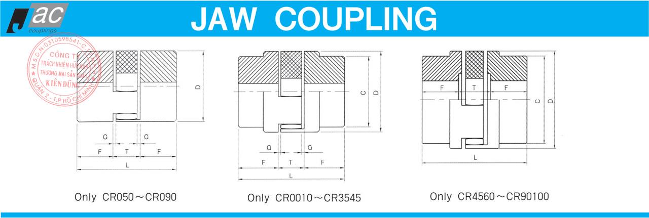 Khớp nối trục Jaw Flexible CR Coupling của hãng JAC Couplings Drawing