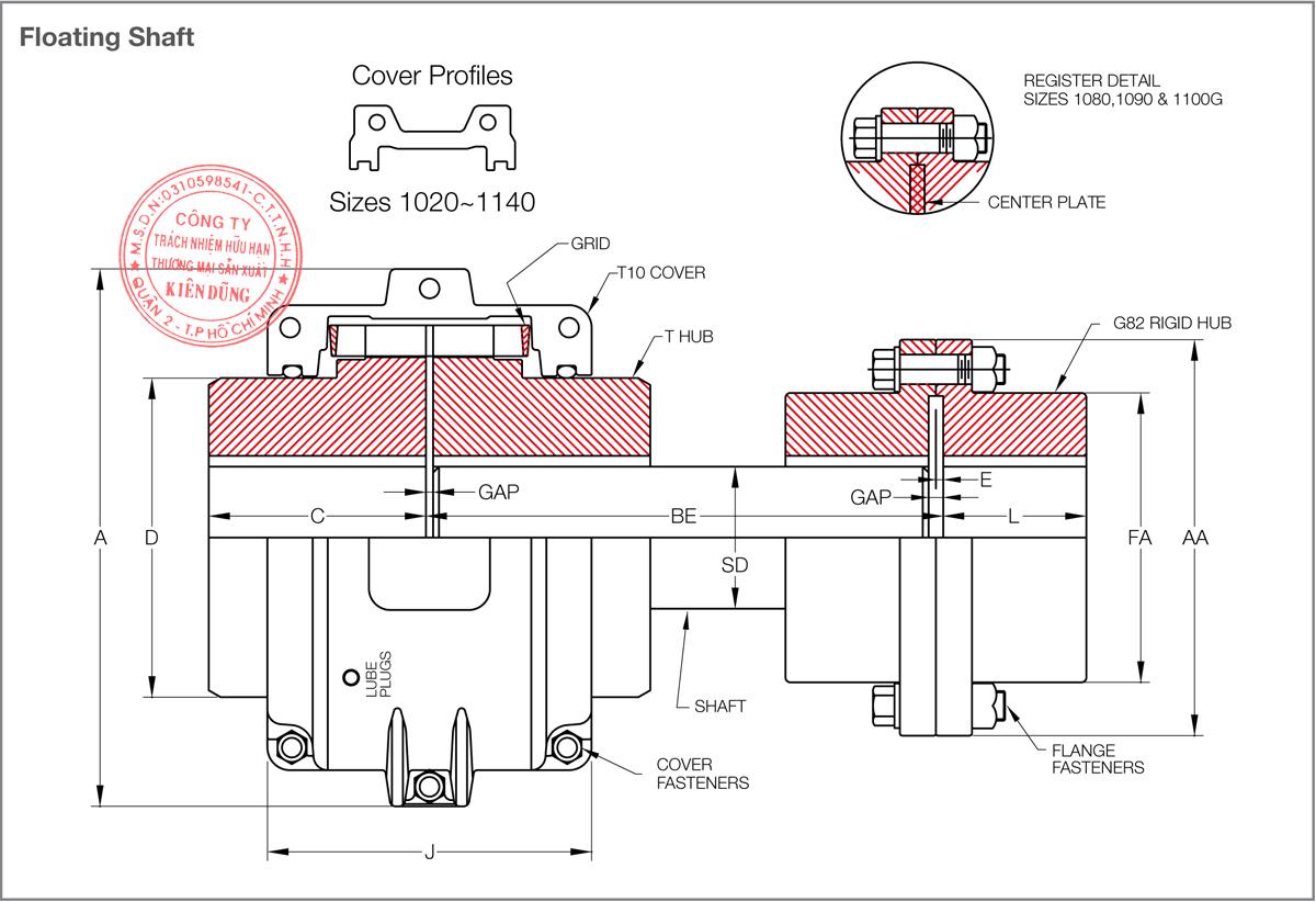 Bảng thông số kỹ thuật khớp nối lưới KCP Taper Grid Couplings T10 & G82 Type