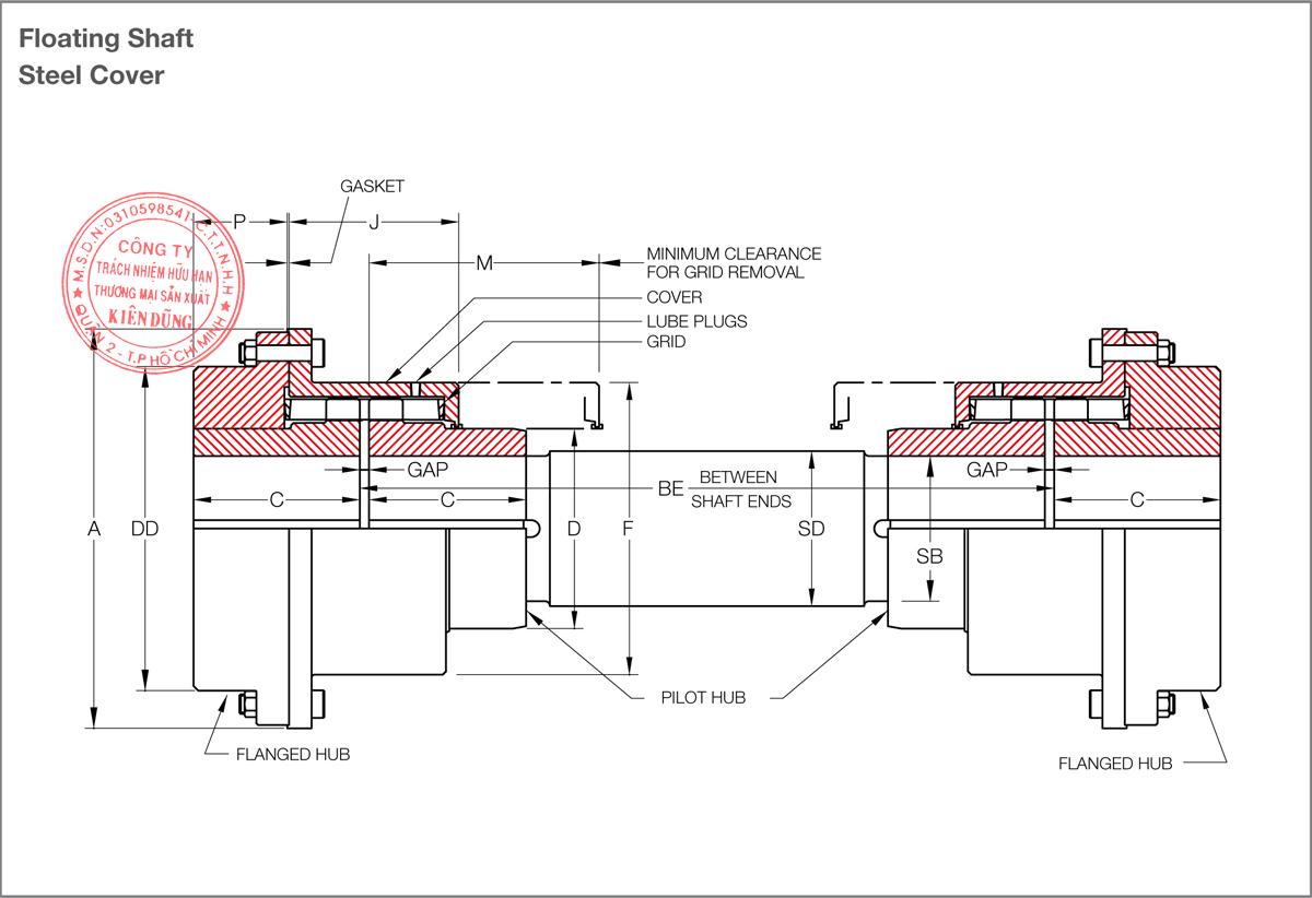 Bảng thông số kỹ thuật khớp nối lưới KCP Taper Grid Couplings T50 Type
