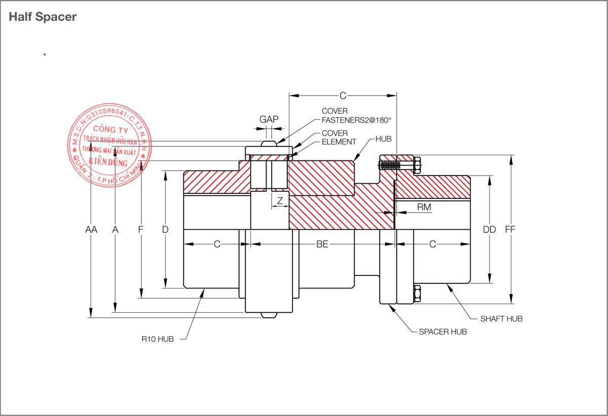 Bảng thông số kỹ thuật khớp nối đàn hồi KCP KW Flex Coupling KW35 Type