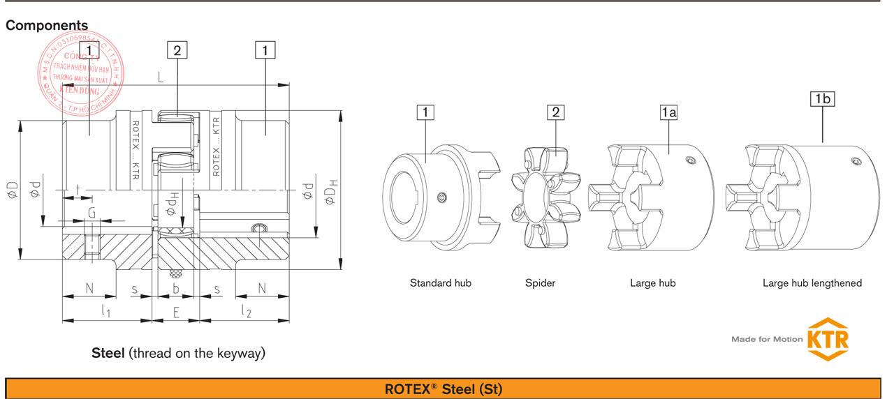 Bảng thông số kỹ thuật khớp nối trục KTR ROTEX Standard Coupling