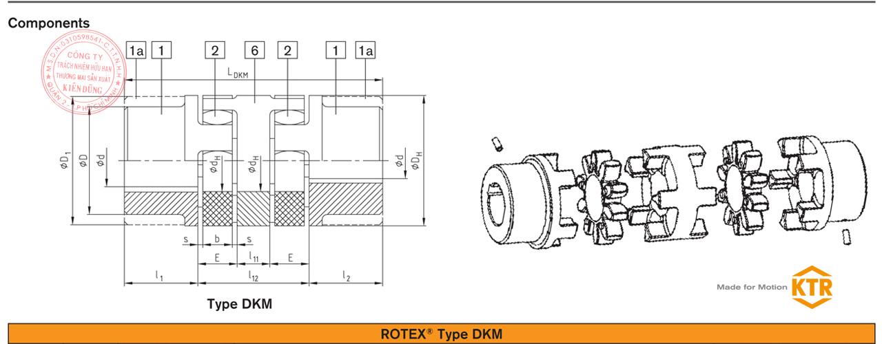 Bảng thông số kỹ thuật khớp nối trục đôi KTR Rotex DKM Coupling