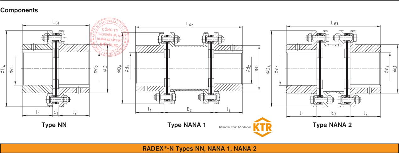 Bảng thông số kỹ thuật khớp nối đĩa thép KTR Radex-N Steel Laminae Coupling