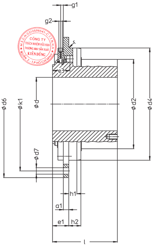 Khớp nối tang trống Malmedie Drum Coupling TTXs Drawing
