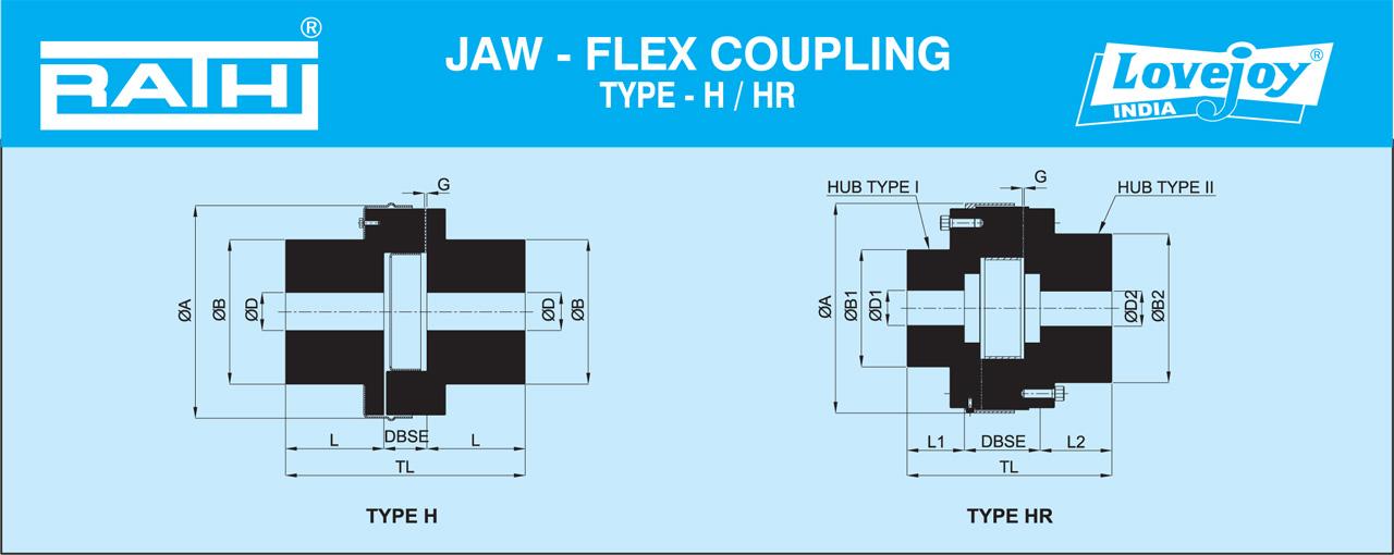 Bảng thông số kỹ thuật Jaw Flex Coupling Type H/HR